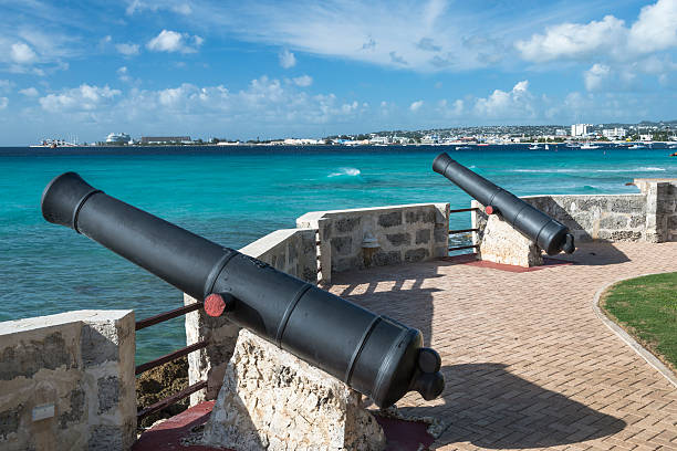 Canons at Needhams Point, Barbados stock photo