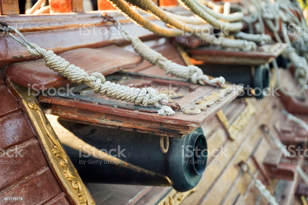 Canons On The Side Of A Galleon stock photo