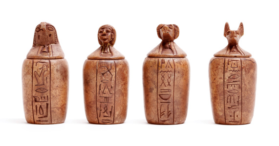 Canopic jars - used by the Ancient Egyptians during the mummification process to store and preserve the viscera of their owner for the afterlife.