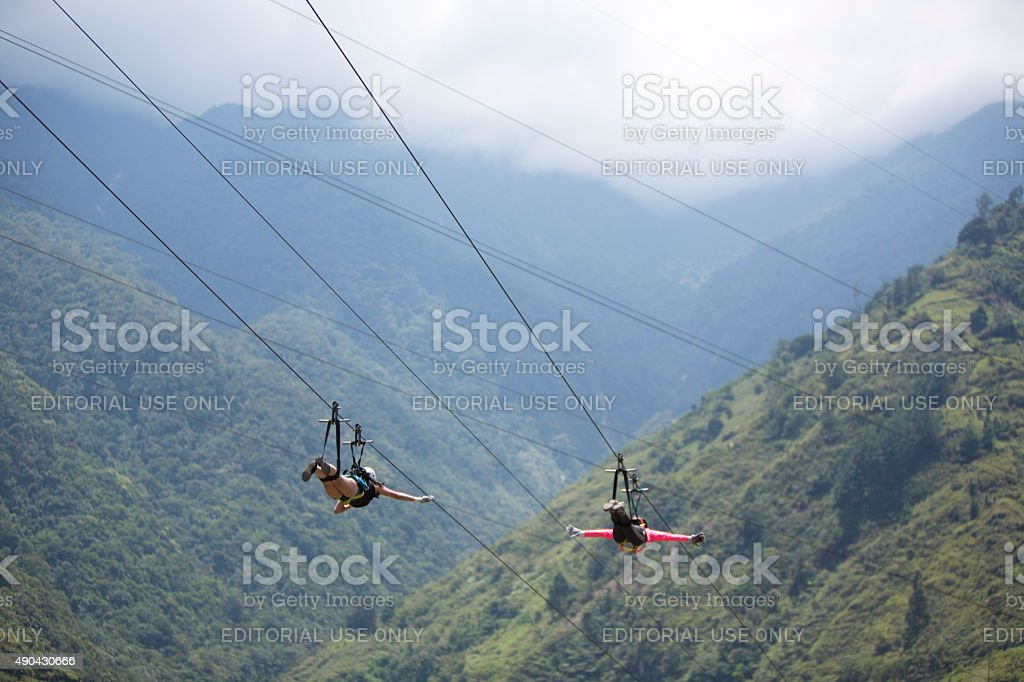 Canopy activities in Banos, Ecuador stock photo