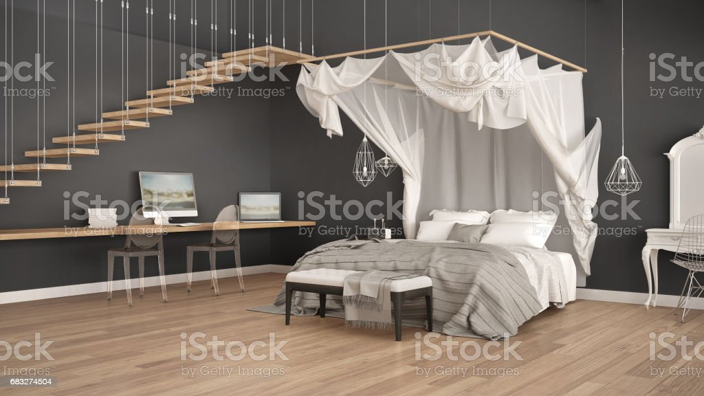 Canopy bed in minimalistic white and gray bedroom with home workplace, scandinavian classic interior design stock photo