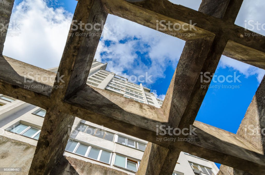 Canopy from concrete beams stock photo