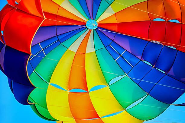 canopy of a multicolor parachute in air. - fallskärm bildbanksfoton och bilder