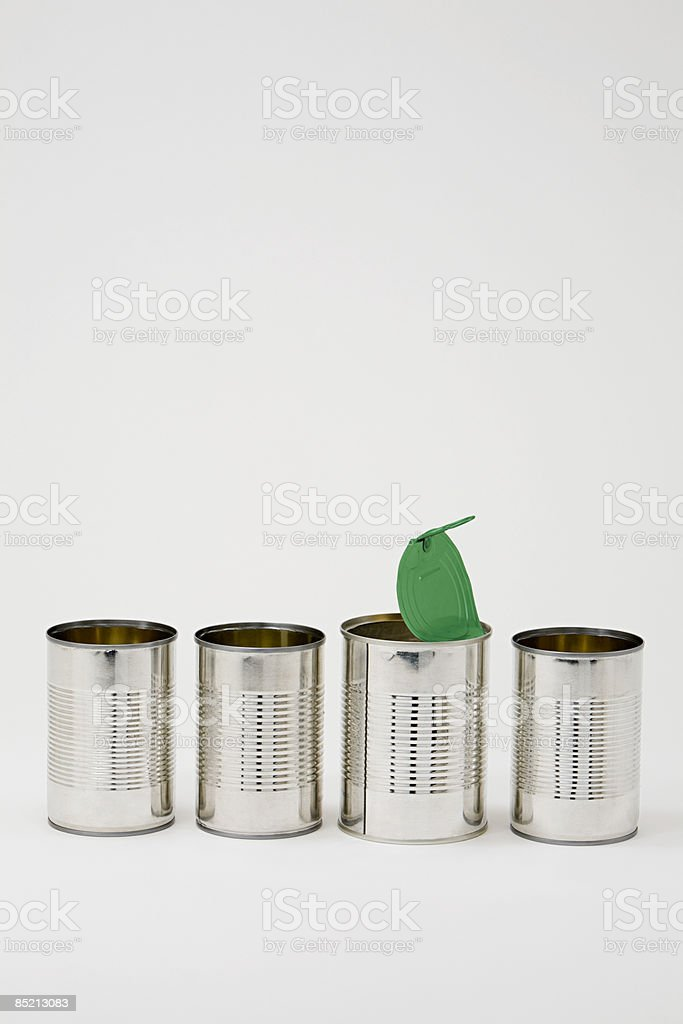 Cans in a row royalty-free stock photo