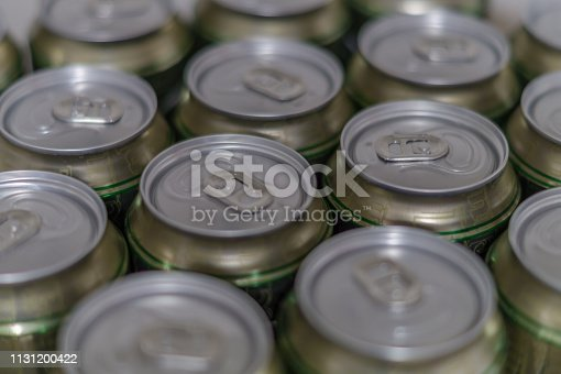 istock Cans of beer in brewery, closeup 1131200422