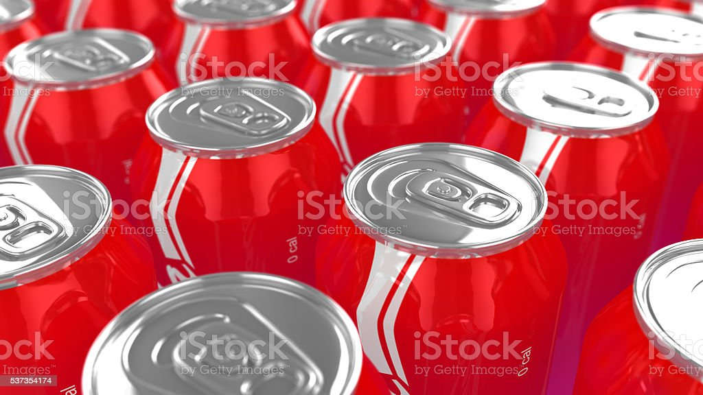 Cans of cola closeup stock photo