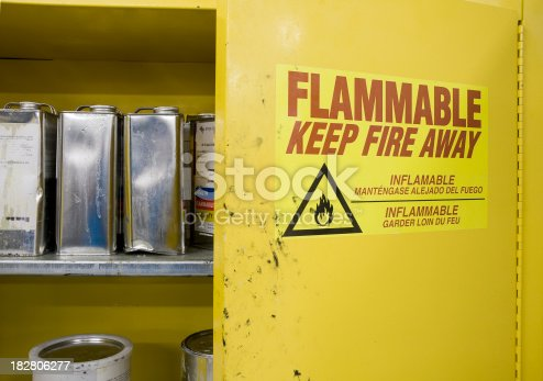Open cabinet containing hazardous chemicals. Cans are dented and leaking with warning label visible.