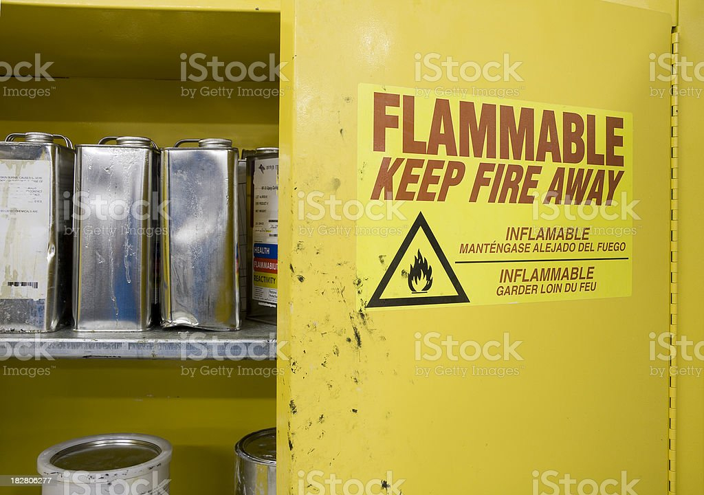 Cans of Hazardous Chemicals in storage Locker stock photo