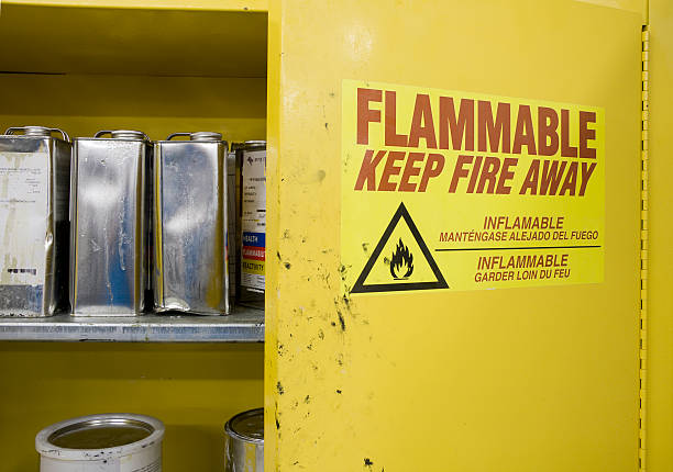 Cans of Hazardous Chemicals in storage Locker Open cabinet containing hazardous chemicals. Cans are dented and leaking with warning label visible. hazardous chemicals stock pictures, royalty-free photos & images