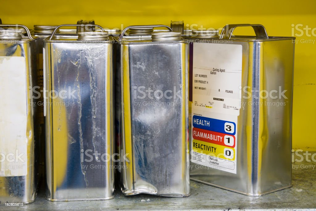 Cans of Hazardous Chemicals stock photo