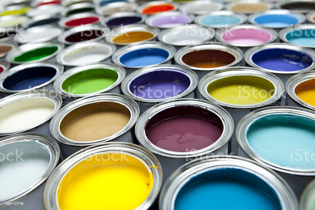 Cans of paint stock photo