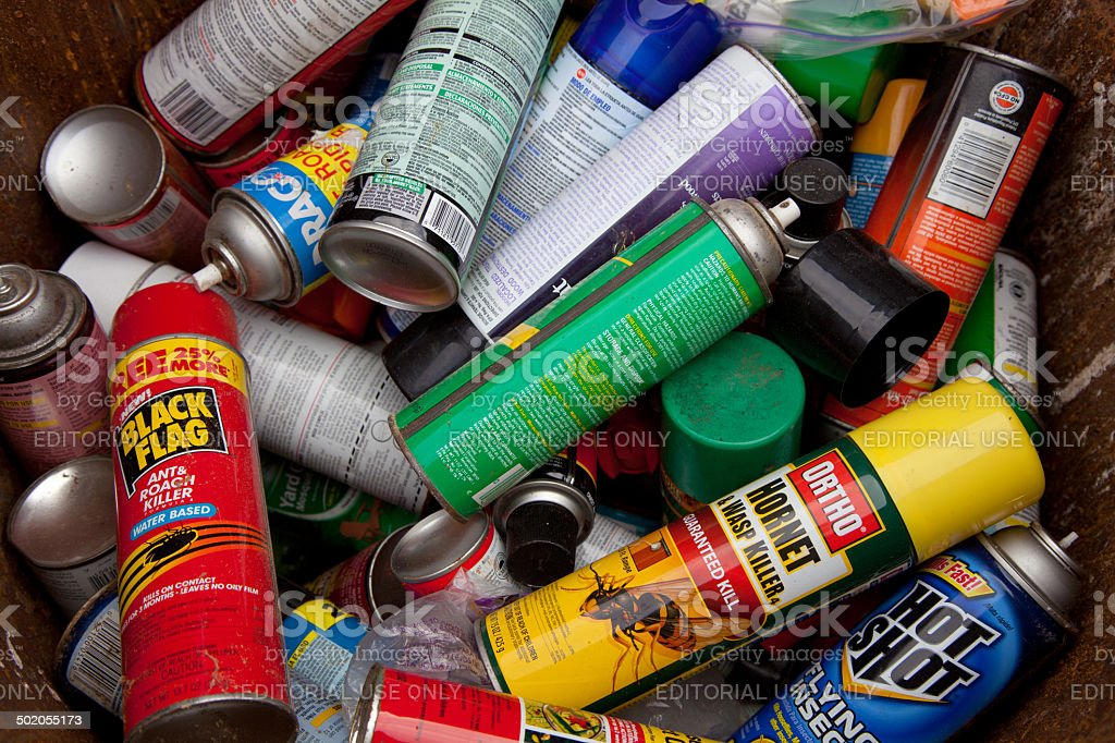 Cans spray stock photo