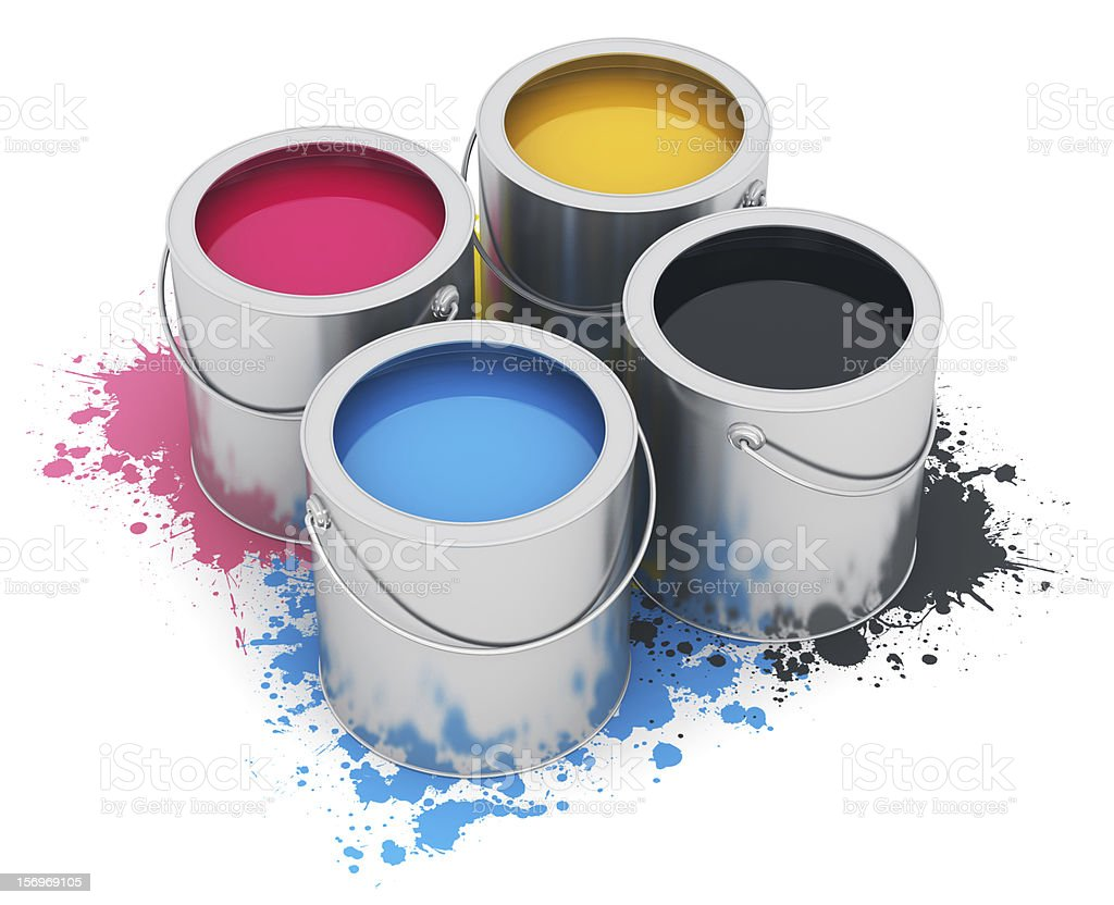 Cans with CMYK paint royalty-free stock photo