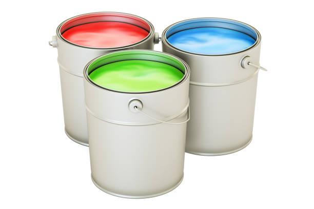 dosen mit farbe malen, rgb-konzept. 3d-rendering isoliert auf weißem hintergrund - zinn farbe stock-fotos und bilder