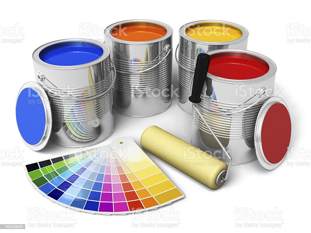Cans with paint, roller brush and color guide stock photo