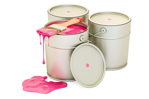 Cans with pink paint and brush, 3D rendering isolated on white background