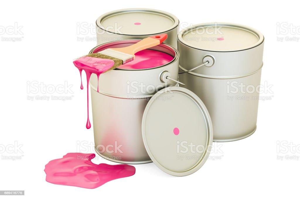 Latas com tinta rosa e escova, 3D, renderização isolado no fundo branco - foto de acervo