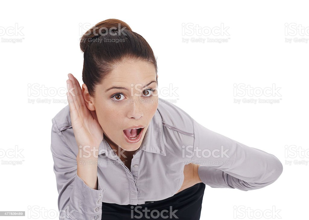 Can't believe what she is hearing! royalty-free stock photo