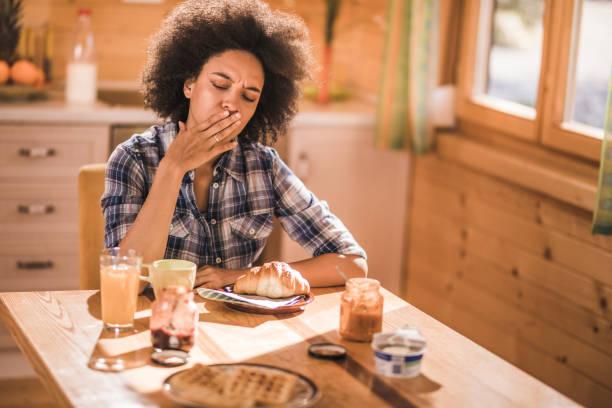 I can't eat, I'm feeling nausea! stock photo