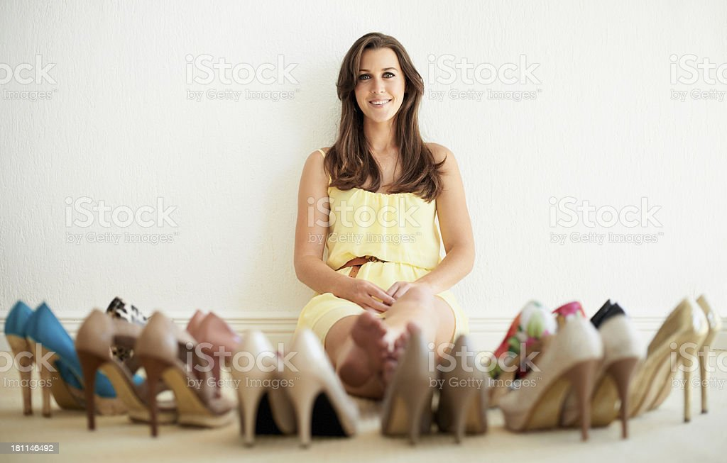 I can't help it...I'm addicted to shoes! stock photo