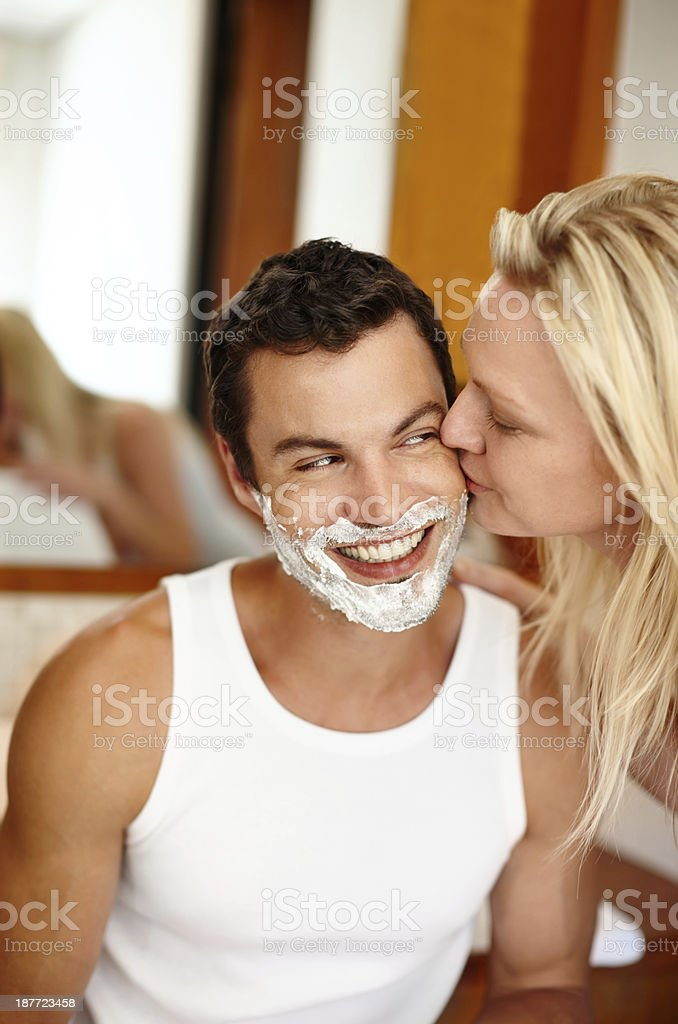 I can't keep my hands off of him royalty-free stock photo