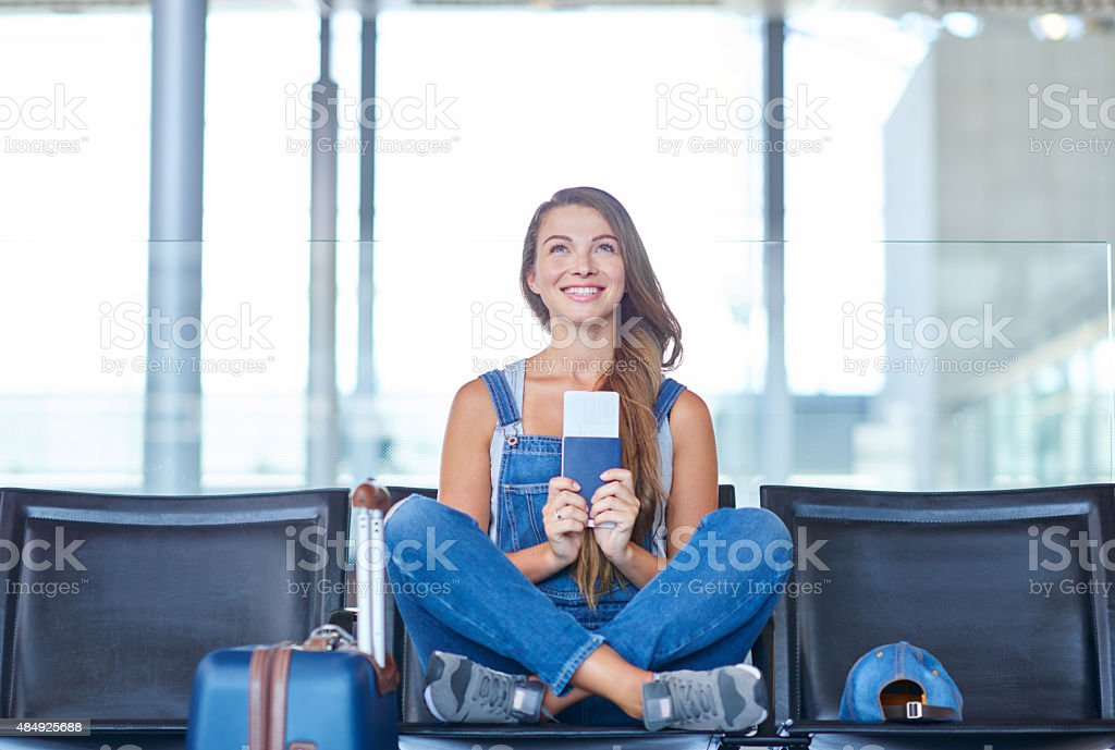 I can't wait to get on that plane! stock photo
