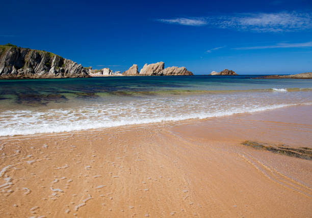 cantabria, costa quebrada, spectacular beach playa de covachos - deposition stock pictures, royalty-free photos & images