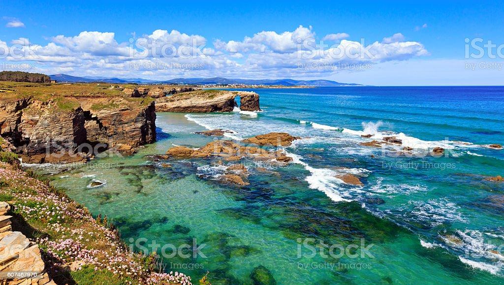 Cantabric coast summer landscape. stock photo
