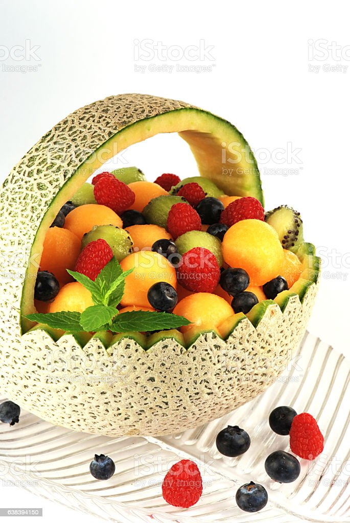 Cantaloupe Basket stock photo
