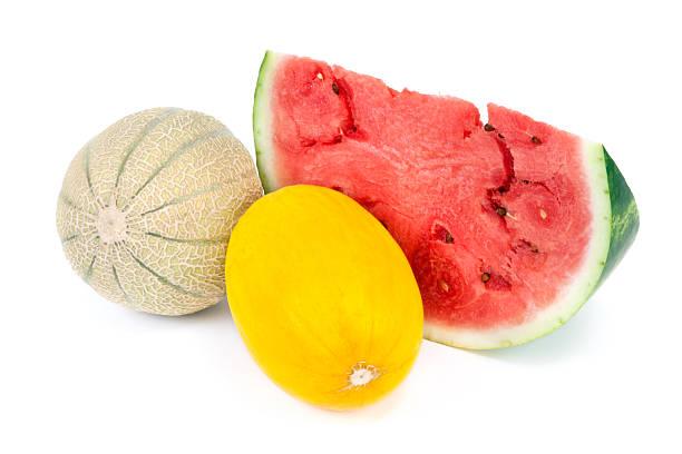 Cantaloupe, Honeydew melon and Watermelon stock photo