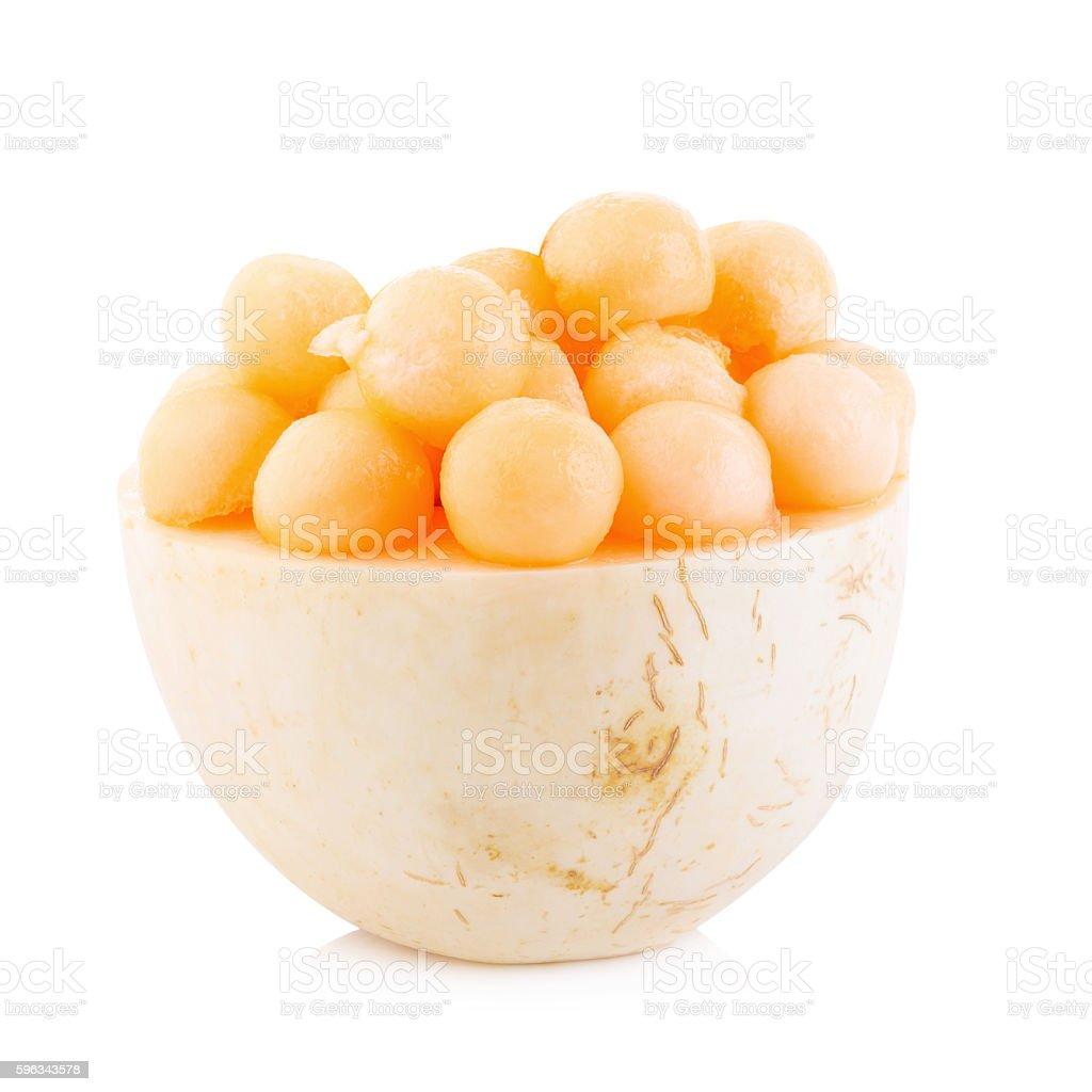 Cantaloupe melon balls on white Background Lizenzfreies stock-foto