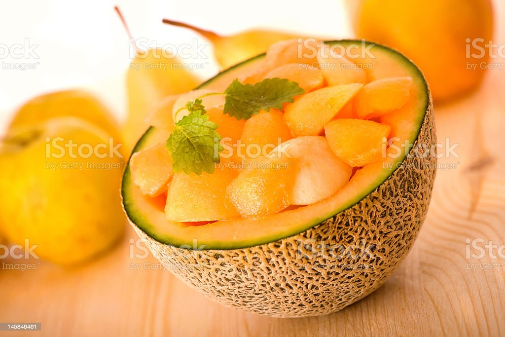 Cantaloupe Melon Dessert stock photo