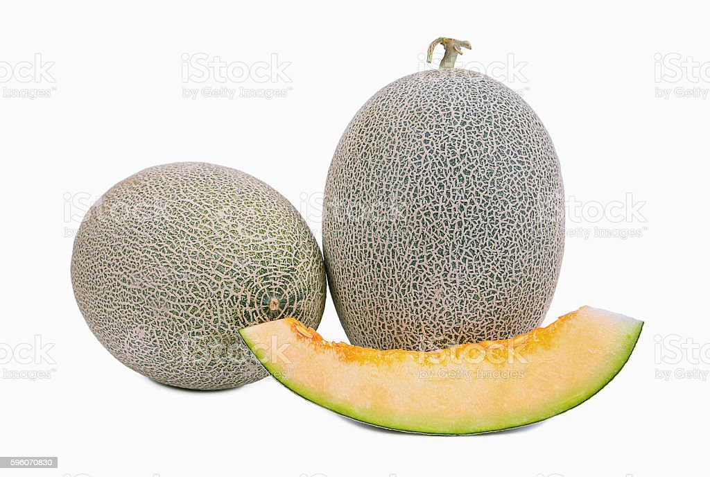 Cantaloupe melon fruit isolated on white background royalty-free stock photo