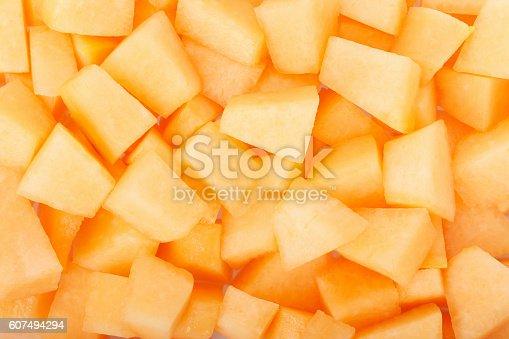 Cantaloupe melon pieces texture background