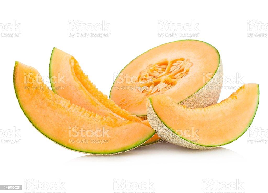 Cantaloupe melon sliced into pieces for consumption stock photo