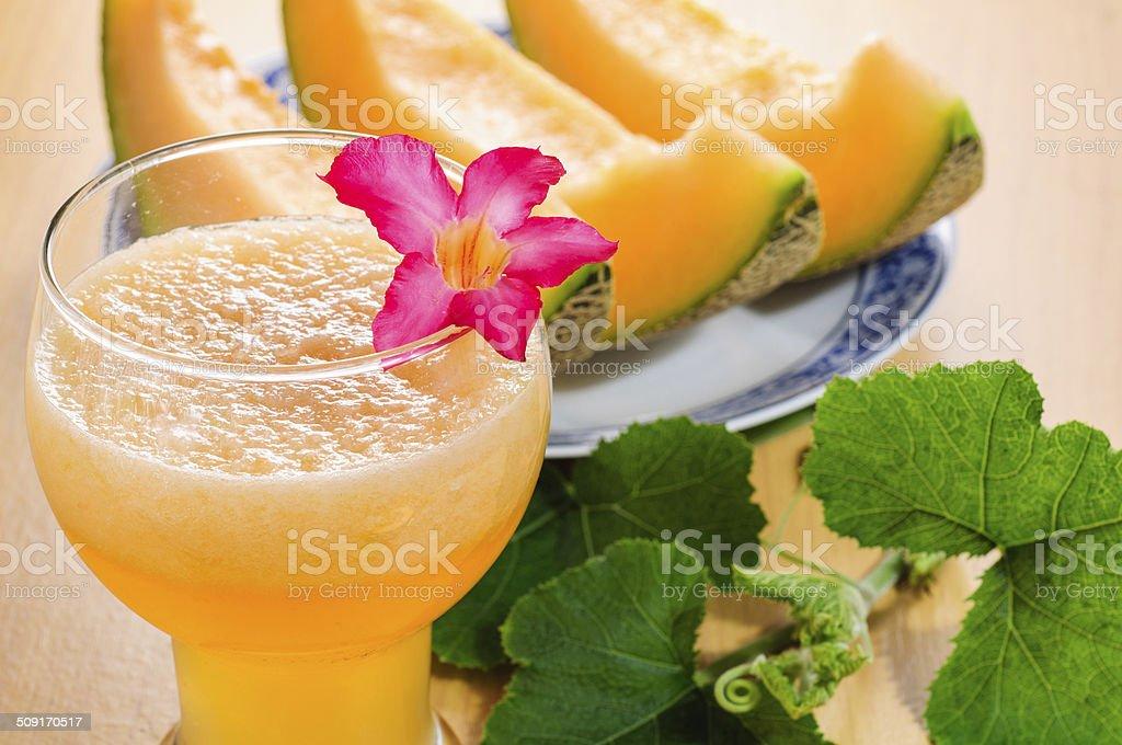 cantaloupe melon smoothies stock photo