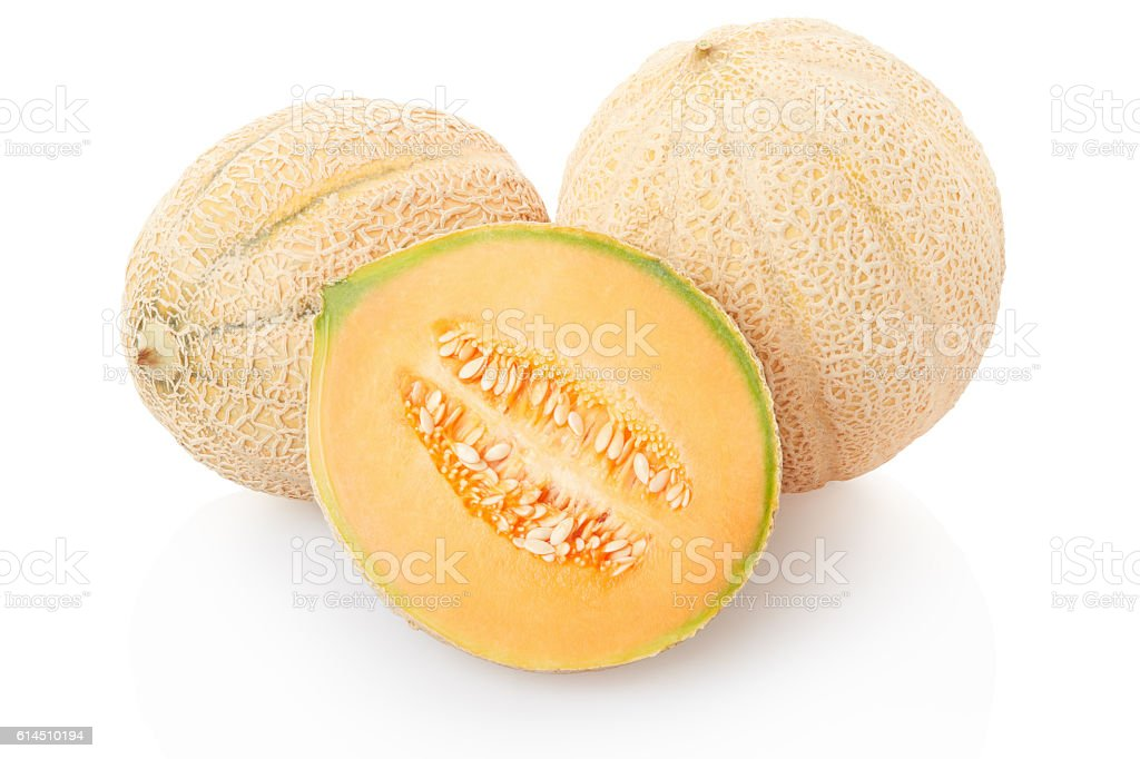 Cantaloupe melons and section on white stock photo