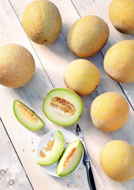 Cantalupe Galia Melonen auf einem Holztisch – Foto