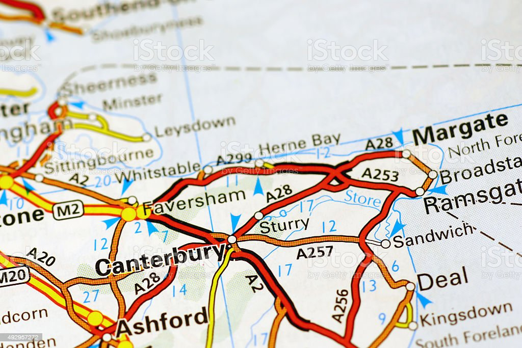 Canterbury Area On A Map Stock Photo More Pictures Of 2015 Istock