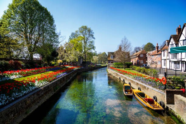 canterbury canal - uk travel stock photos and pictures