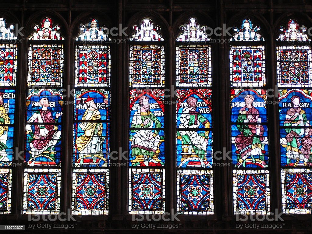 Canterbury Cathedral England - Stained Glass stock photo