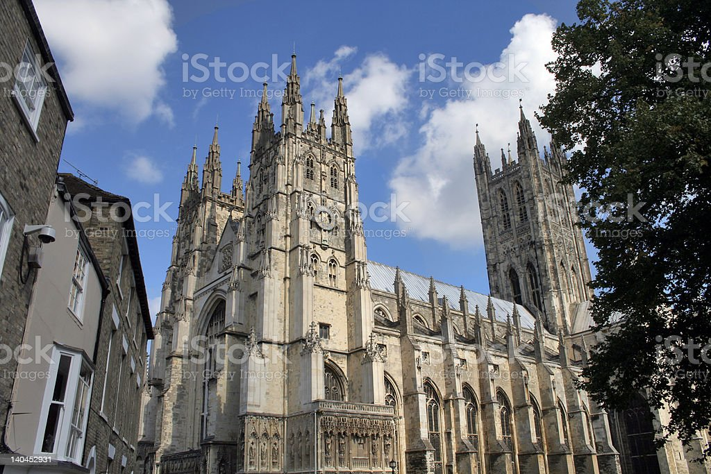 Canterbury Cathedral from street stock photo