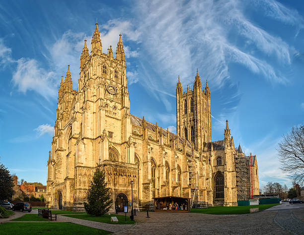 Canterbury cathedral in sunset rays, England stock photo