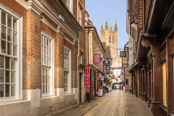 Canterbury Cathedral seen from Butchery Lane, Canterbury stock photo