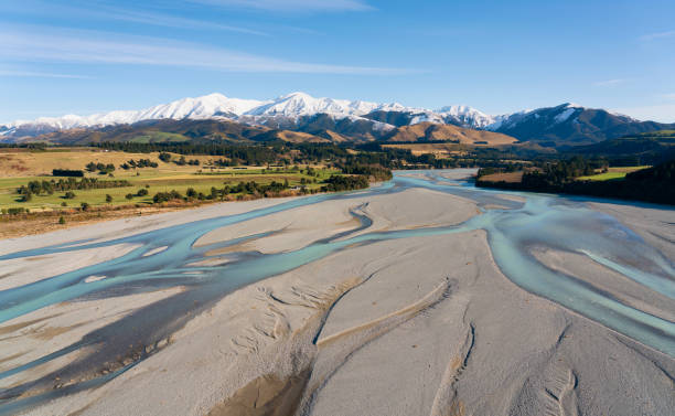 Canterbury Plain And The Southern Alps stock photo