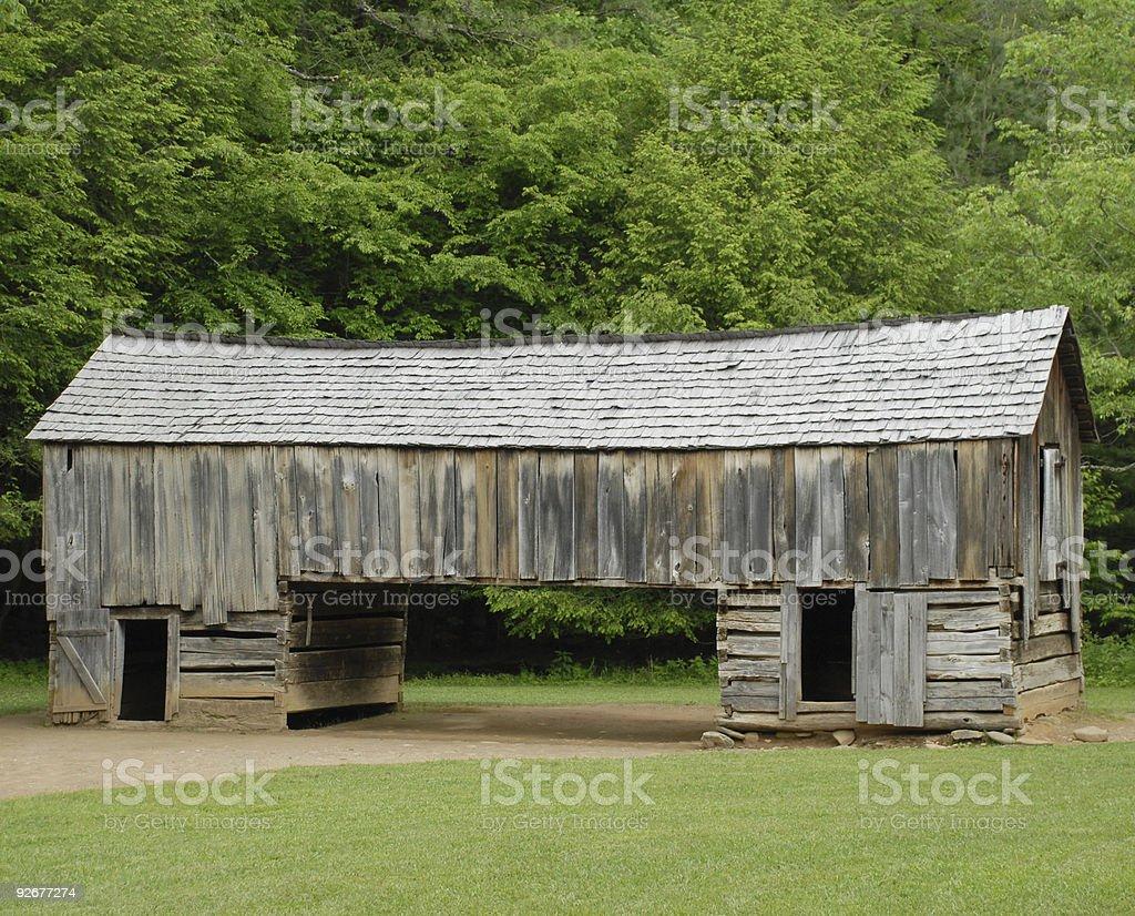 Cantilever barn at Cades Cove stock photo