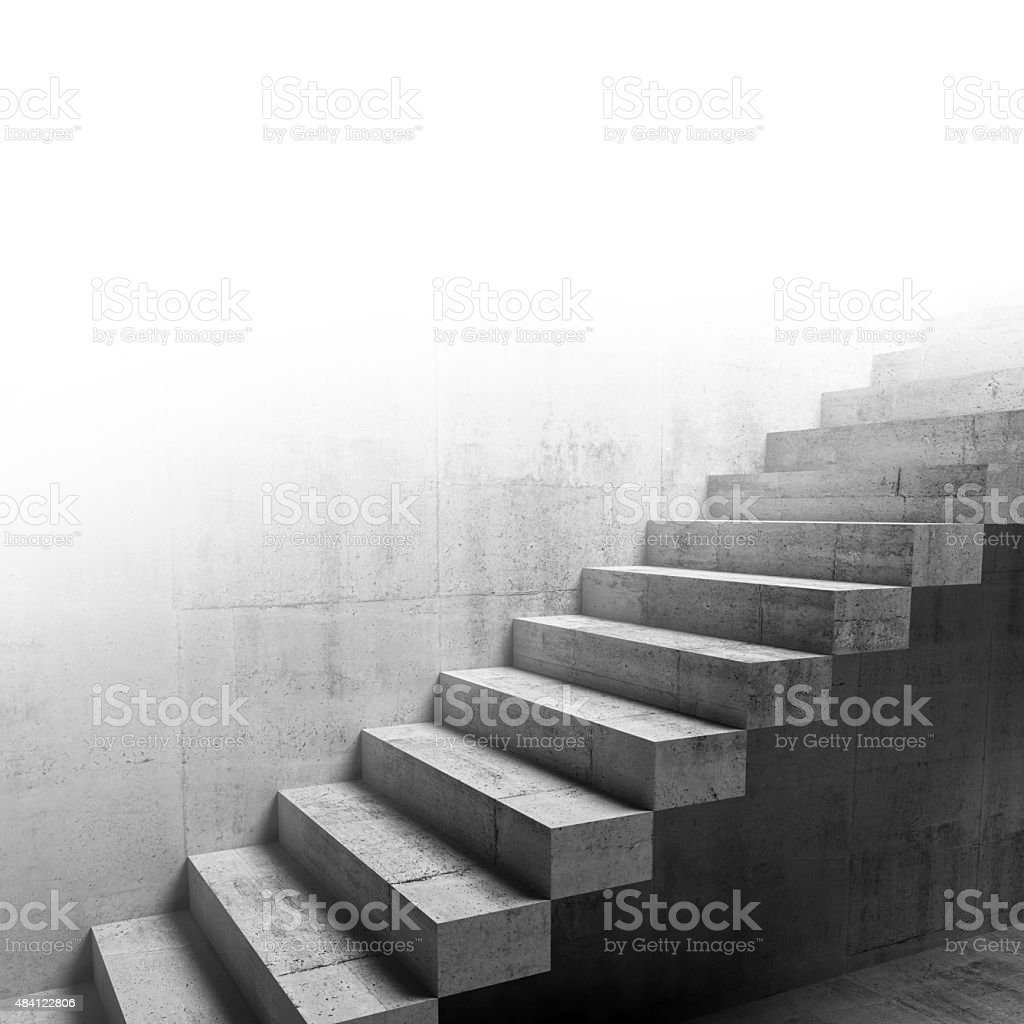 Cantilevered stairs construction on the wall, 3d stock photo
