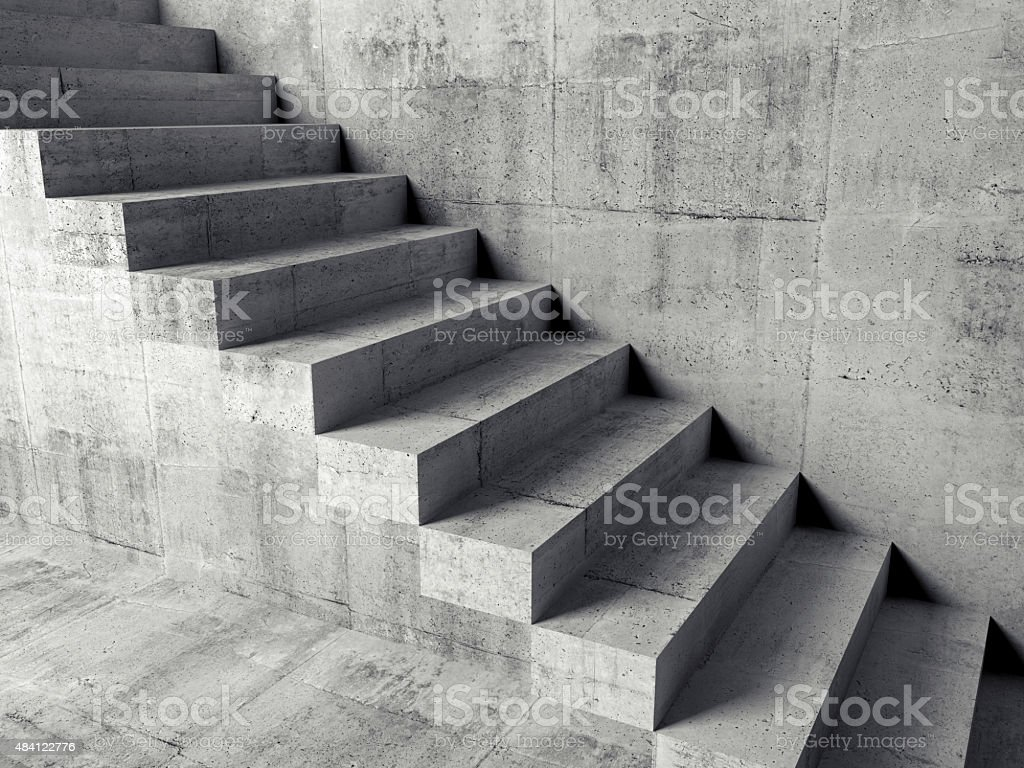 Cantilevered stairs on the wall, 3d illustration stock photo