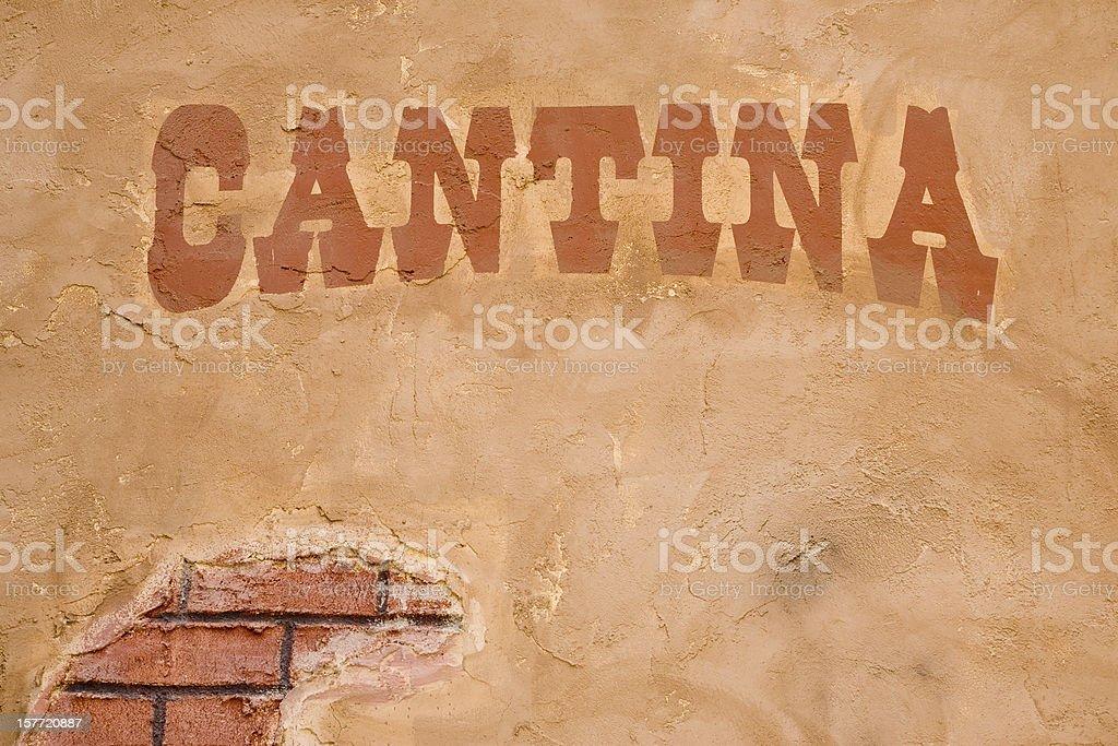 Cantina Sign Outside Bar, Brick Stucco Wall, Rustic, Cinco-de-Mayo stock photo