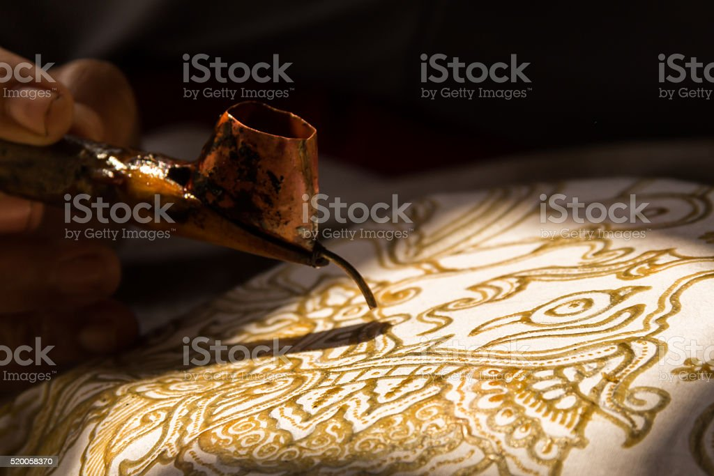 Canting and batik painting stock photo